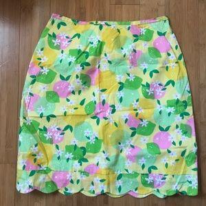 Lilly Pulitzer Lemon Scalloped Hem Skirt